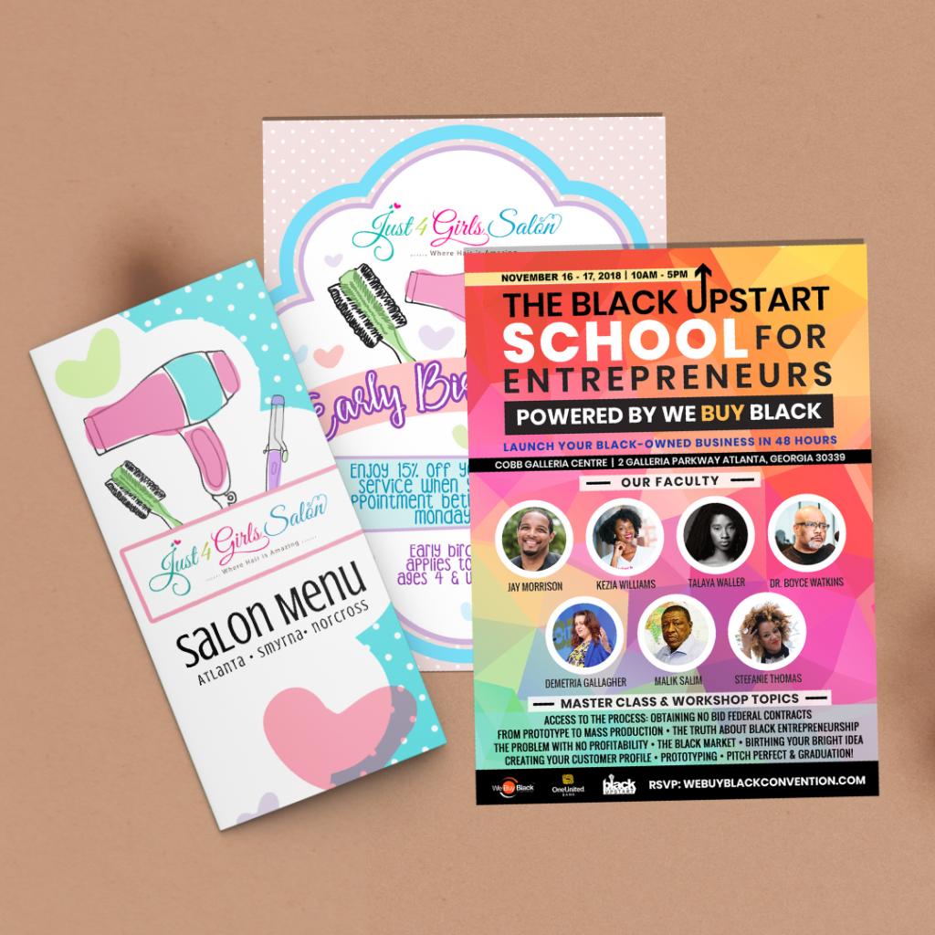 Print Marketing : Just 4 Girls Salon & We Buy Black Convention