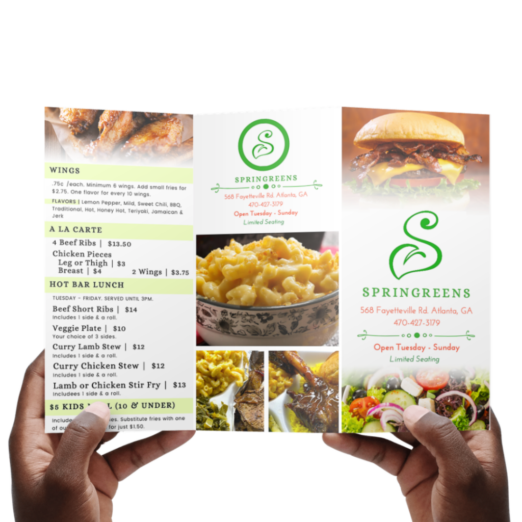 Print Marketing : SpringGreens Restaurant