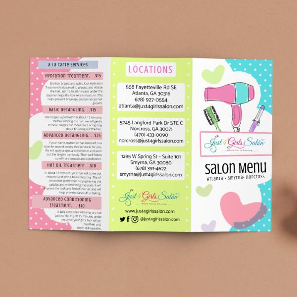 Brochure Design : Just 4 Girls Salon